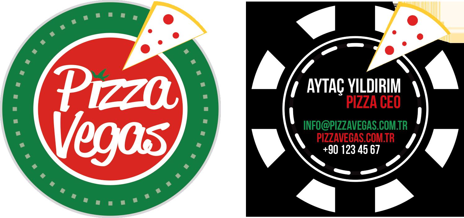 Kartvizit Pizza Vegas Kurumsal Kimlik Çalışması (Brand Identity)! Menü, ıslak mendil, - kıyafetler, pizza kutusu, kartvizitler, menüboard, motto, flyer, billboard.