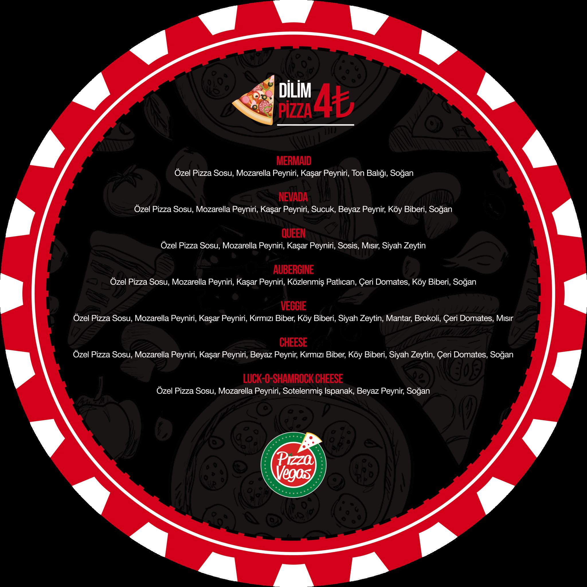 Menü Pizza Vegas Kurumsal Kimlik Çalışması (Brand Identity)! Menü, ıslak mendil, - kıyafetler, pizza kutusu, kartvizitler, menüboard, motto, flyer, billboard.