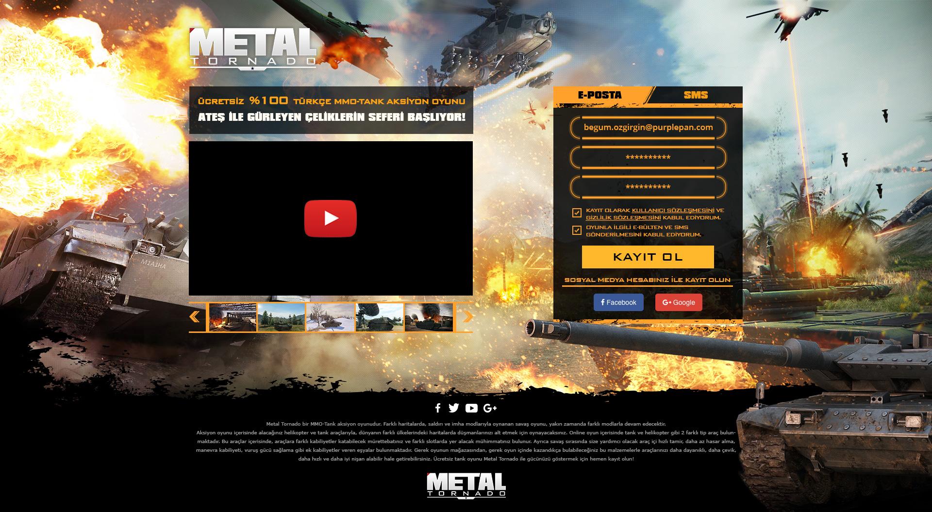 Metal Tornado Landing Page Design