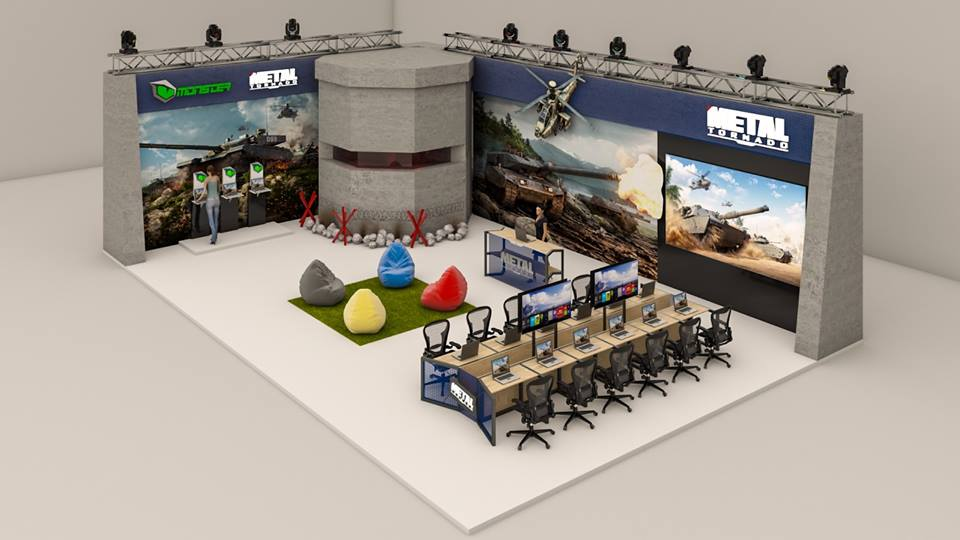 Exhibition Stand Game : Oyun stand tasarımı game booth design purple pan
