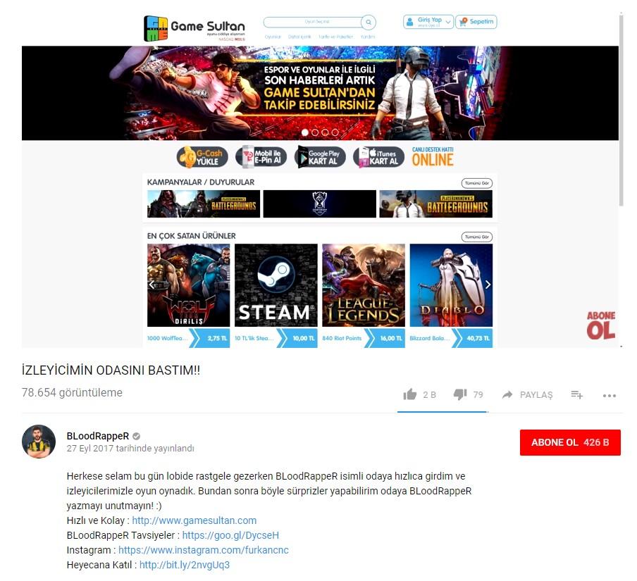 Gamesultan Bloodrapper Influencer Marketing